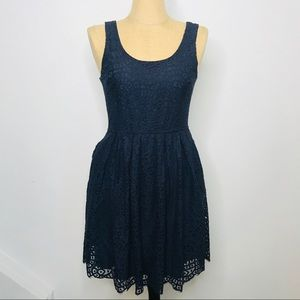 J. Crew Factory Lace Overlay Fit and Flare Dress